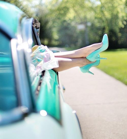 woman's legs, high heels, vintage car